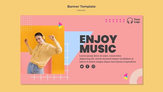 Horizontal banner template for enjoying music