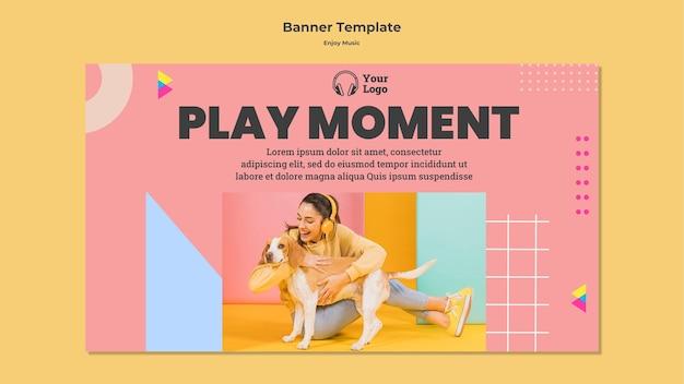 Horizontal banner template for enjoying music