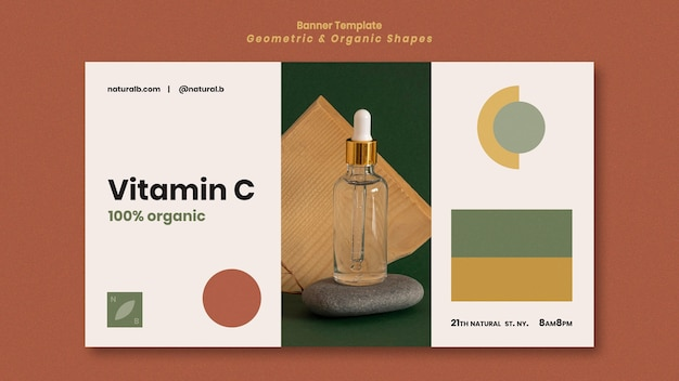 Horizontal banner template for essential oil bottle podium with geometric shapes