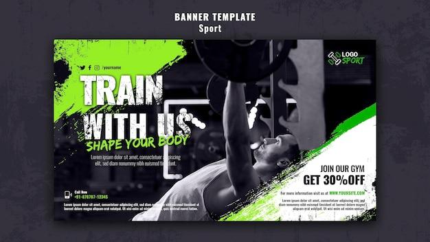 Modello di banner orizzontale per l'esercizio fisico e l'allenamento in palestra