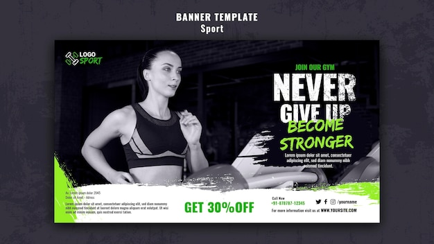 Horizontal banner template for exercise and gym training