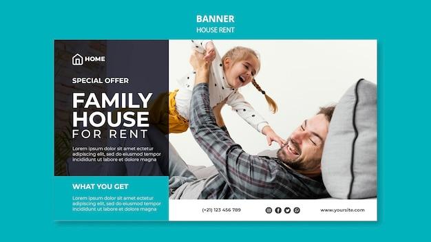 Modello di banner orizzontale per l'affitto di una casa familiare