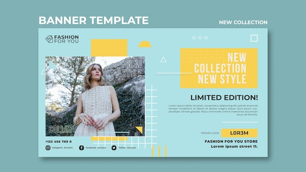 Horizontal banner template for fashion collection with woman in nature