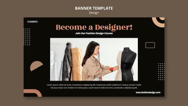 Horizontal banner template for fashion designer