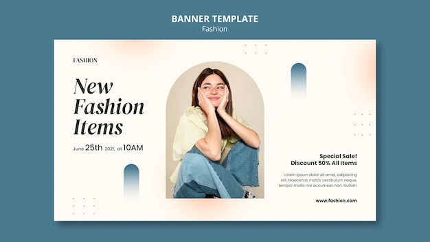 Horizontal banner template for fashion style and clothing with woman