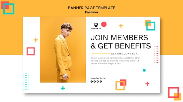 Horizontal banner template for fashion with male model