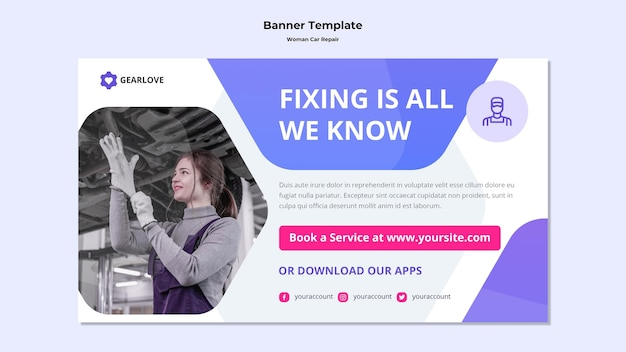 Horizontal banner template for female auto mechanic