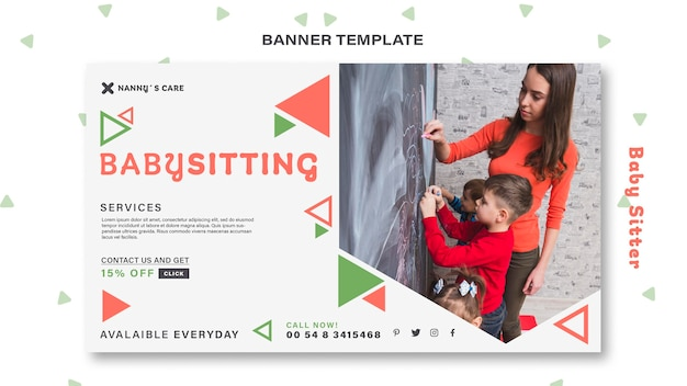 Horizontal banner template for female baby-sitter with children
