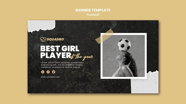 Horizontal banner template for female football player