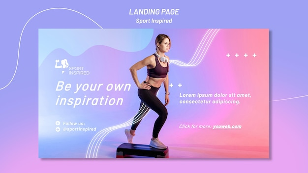 Horizontal banner template for fitness training