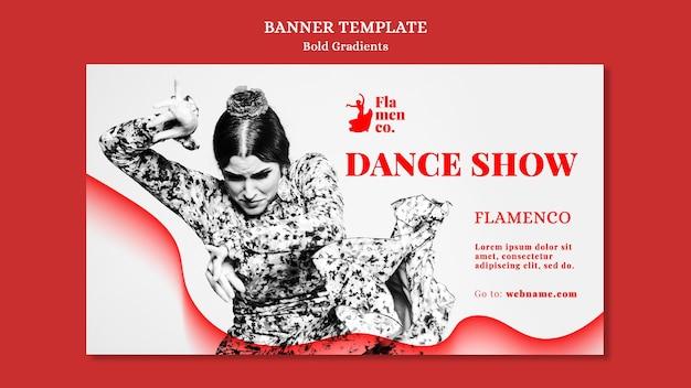 Modello di banner orizzontale per spettacolo di flamenco con ballerina