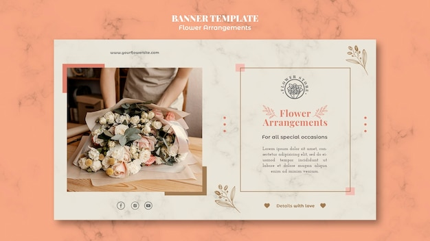 Horizontal banner template for floral arrangements shop