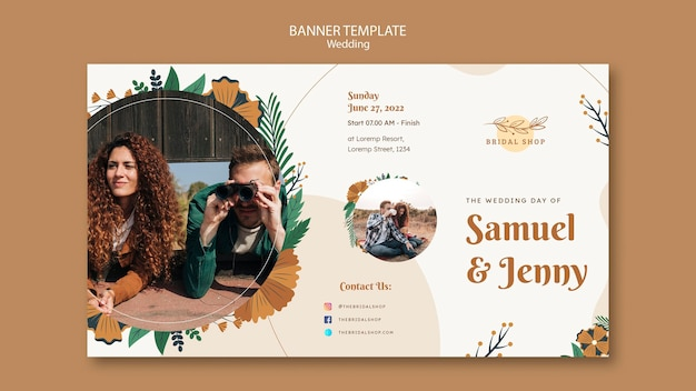 Horizontal banner template for floral wedding with leaves and couple