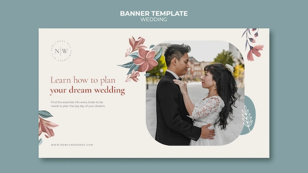 Horizontal banner template for floral wedding
