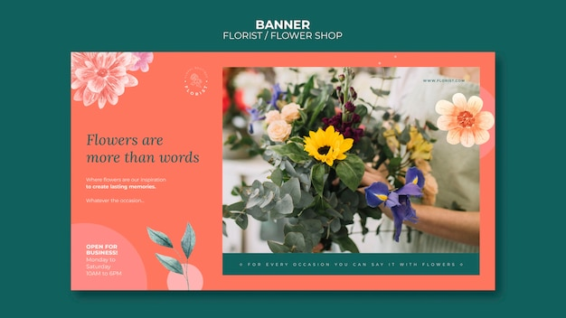 Horizontal banner template for flower shop business