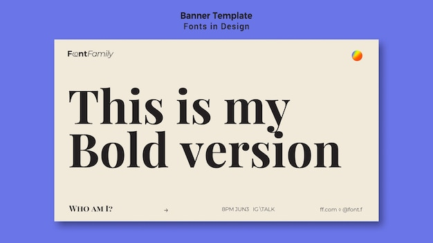 Horizontal banner template for fonts and design