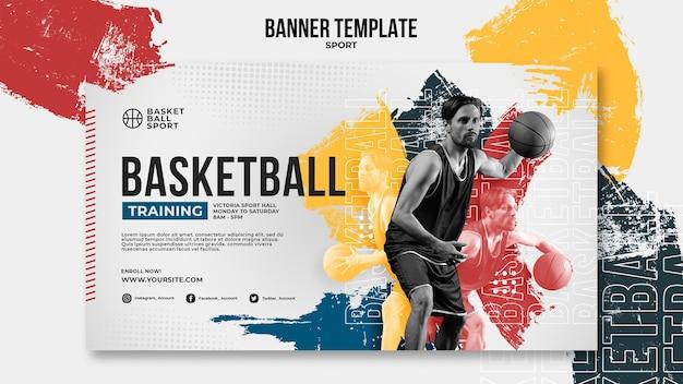 男性プレーヤーとバスケットボールの水平バナーテンプレート