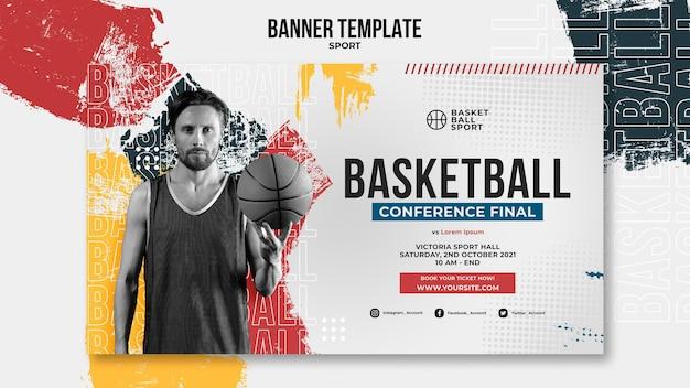 Шаблон горизонтального баннера для баскетбола с игроком мужского пола