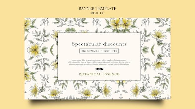 手描きの花と美容製品の水平バナーテンプレート