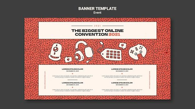 Шаблон горизонтального баннера для крупнейшей онлайн-конвекции 2021 года