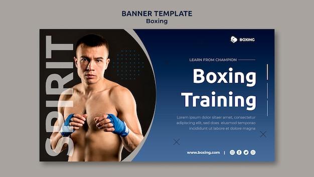 Шаблон горизонтального баннера для боксерского спорта с боксером-мужчиной