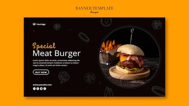 Шаблон горизонтального баннера для бургер-бистро