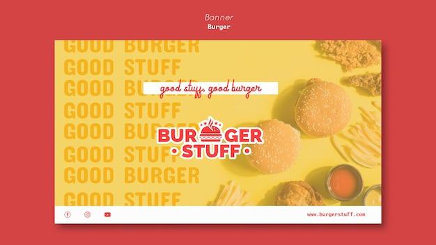 Шаблон горизонтального баннера для закусочной с гамбургерами