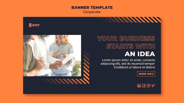 Шаблон горизонтального баннера для бизнес-корпорации