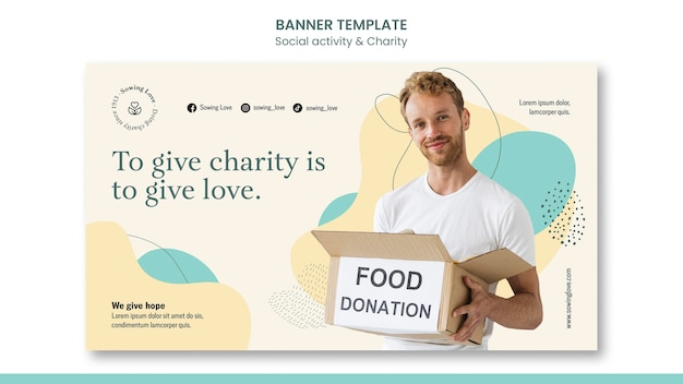 チャリティーと寄付のための水平バナーテンプレート