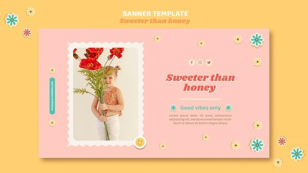 花を持つ子供のための水平バナーテンプレート