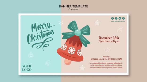 Шаблон горизонтального баннера на рождество с колокольчиком