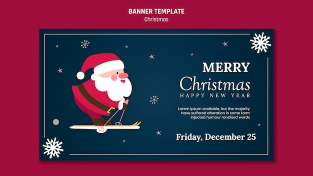 サンタクロースとクリスマスの水平バナーテンプレート