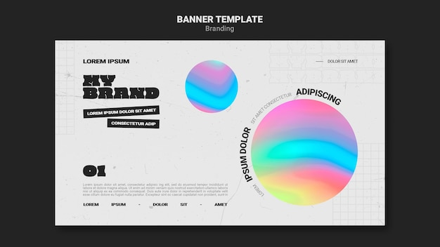 다채로운 원 모양으로 회사 브랜딩을위한 가로 배너 서식 파일