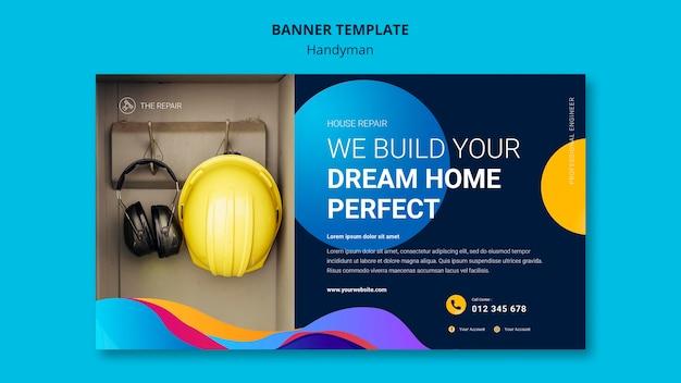 Шаблон горизонтального баннера для компании, предлагающей услуги разнорабочего