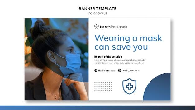 医療マスクとコロナウイルスパンデミックの水平バナーテンプレート