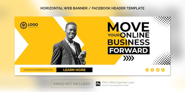 Шаблон горизонтального баннера для продвижения корпоративного бизнеса