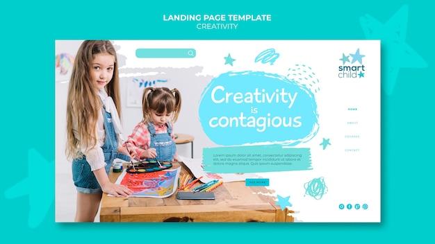楽しんでいる創造的な子供のための水平バナーテンプレート