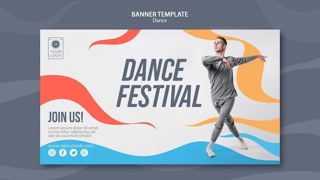Шаблон горизонтального баннера для танцевального фестиваля с исполнителем