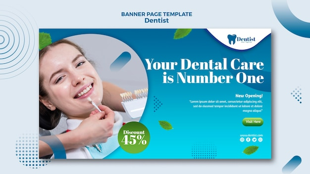 치과 치료를위한 가로 배너 템플릿