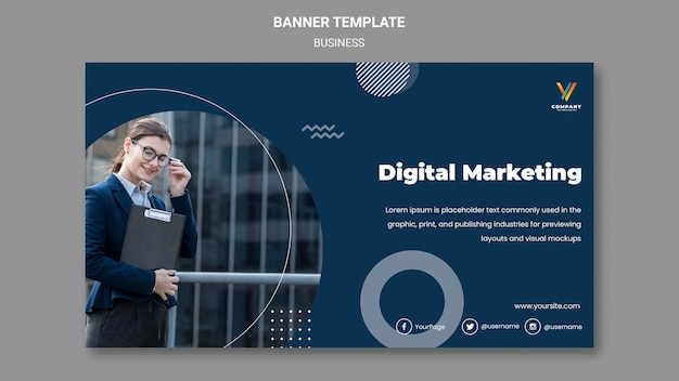 Шаблон горизонтального баннера для агентства цифрового маркетинга