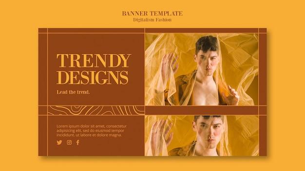 Шаблон горизонтального баннера для модного образа жизни