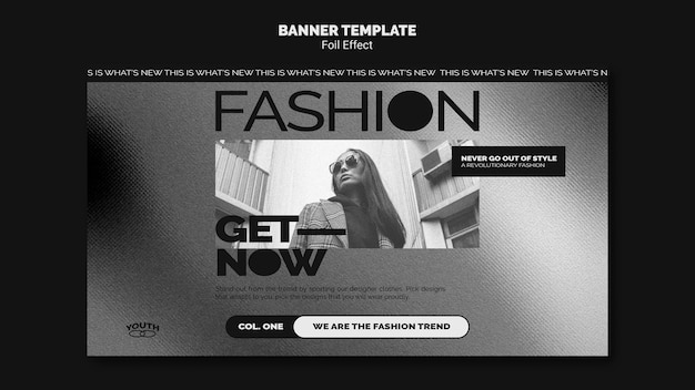 Шаблон горизонтального баннера для моды с эффектом фольги