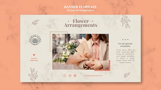 Шаблон горизонтального баннера для магазина цветочных композиций