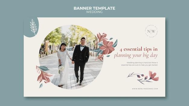 花の結婚式のための水平バナーテンプレート