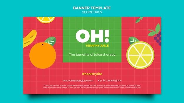 Шаблон горизонтального баннера для рецептов фруктовых смузи
