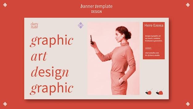 Шаблон горизонтального баннера для графического дизайнера