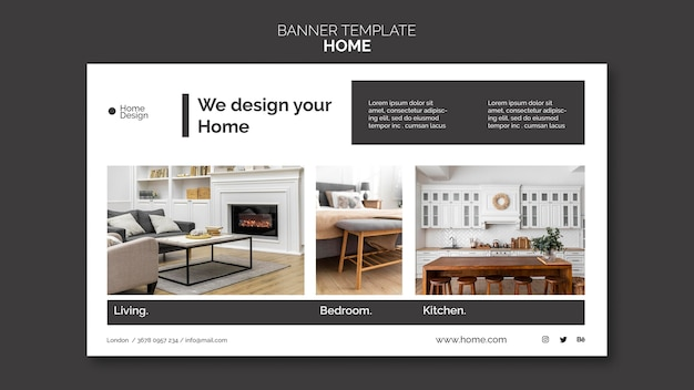 家具付きの家のインテリアデザインの水平バナーテンプレート