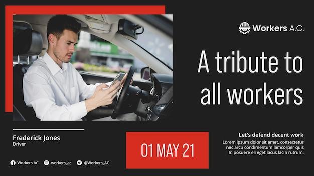 국제 노동자의 날 축하를위한 가로 배너 템플릿