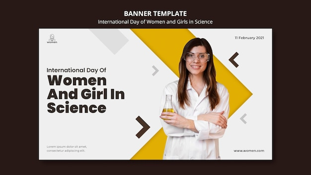 Шаблон горизонтального баннера для международного дня женщин и девочек в день науки