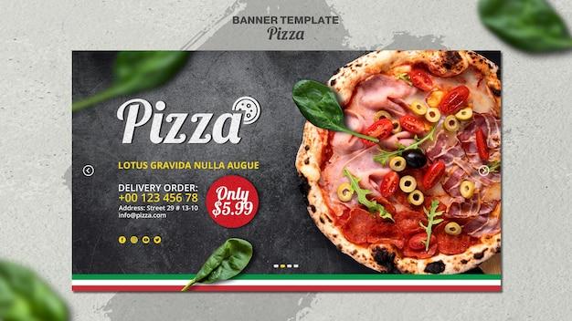 イタリアのピザレストランの水平バナーテンプレート